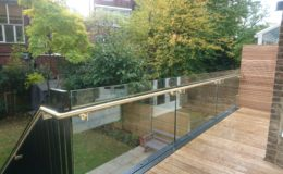 Steel balcony with redwood decking