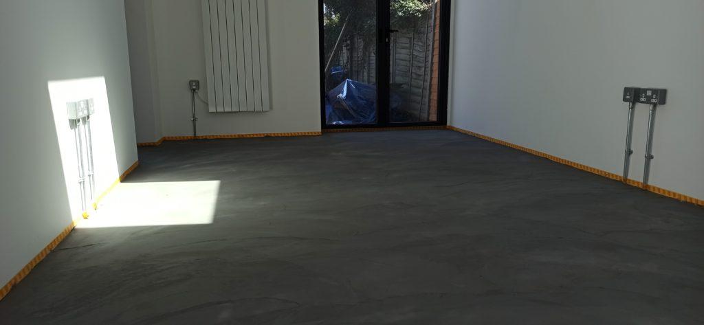 Micro-cement floor just before sanding